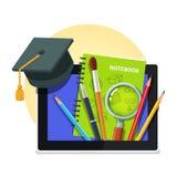 Modernt utbildningsbegrepp set tablet för datorsymbolsskärm Royaltyfri Bild