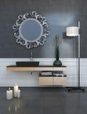 Modernt utforma grå färgbadrummen Arkivbild