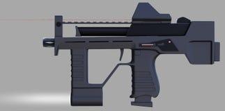 Modernt vapen för automatiska vapen av en ny modell Inskriften av rött färgar lokaliserat över text av vit färgar illustration 3d Royaltyfri Bild