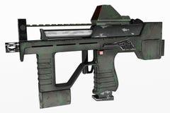 Modernt vapen för automatiska vapen av en ny modell Inskriften av rött färgar lokaliserat över text av vit färgar illustration 3d Royaltyfri Foto