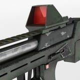 Modernt vapen för automatiska vapen av en ny modell Inskriften av rött färgar lokaliserat över text av vit färgar illustration 3d Arkivfoton
