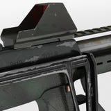 Modernt vapen för automatiska vapen av en ny modell Inskriften av rött färgar lokaliserat över text av vit färgar illustration 3d Arkivfoto