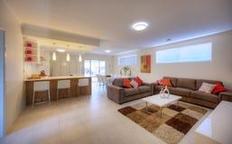 Modernt vardagsrum med den bruna sofaen Arkivbild