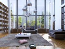 Modernt vardagsrum med det wood golvet arkivbild