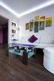 Modernt vardagsrum med klippor av den Moher bilden Arkivfoto