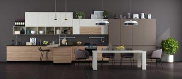 Modernt vit kök för brunt och med den äta middag tabellen royaltyfria foton