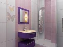 Modernt vit- och rosa färgbadrum med duschen Royaltyfri Foto