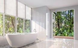Modernt vitt badrum med den öppna dörren till naturen 3d framför Royaltyfria Foton