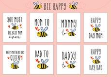Moders dag, faders kort för dag med det gulliga biet, vektoruppsättning vektor illustrationer