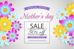 Moders försäljning för dag av, rabatt, vaucher, broschyr fotografering för bildbyråer