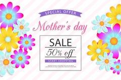 Moders försäljning för dag av, rabatt, vaucher, broschyr stock illustrationer