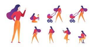 Moderskap och karriär för vektorillustration primat stock illustrationer