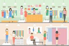 Moderskap shoppar uppsättningen stock illustrationer