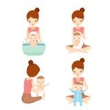 Modertvagningen behandla som ett barn uppsättningen stock illustrationer