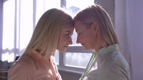 Modervärden, lycklig mum med dottern som upp smyga sig huvud med de i bakbelyst i rum mot fönster lager videofilmer