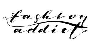Modesüchtigwörter Übergeben Sie gezogene kreative Kalligraphie und bürsten Sie Stiftbeschriftung, Design für Feiertagsgrußkarten  Lizenzfreie Stockfotografie