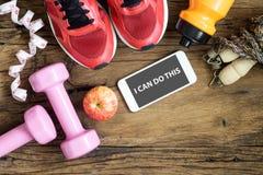 Modes de vie de forme physique, sains et actifs concept, haltères, sport Photo libre de droits