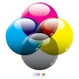 Modes en verre de couleur de CMYK Image libre de droits