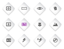 Modes of Photo Silhouette Icons Stock Images