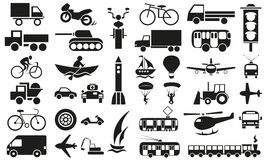 Modes of transportation icons on white Stock Photo