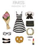 Modesatz der Kleidung der Frau, des Zubehörs und der Schuhclipartsammlung Stockfoto