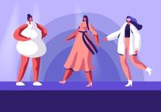 Modeshow med bästa modeller på Catwalk Kvinnliga tecken som bär moderiktiga haute couture som beklär visa samlingslandningsbanan stock illustrationer