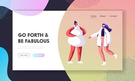 Modeshow sida för landning för Website för Catwalklandningsbanahändelse Modellera Girls i haute couture som beklär på landningsba royaltyfri illustrationer