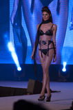 Modeshowbeutifullmodell i svart damunderkläder Arkivfoton