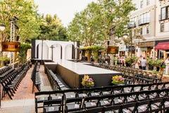 Modeshowlandningsbana med tomma platser Royaltyfri Bild
