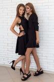 Modeskott av två härliga flickor i sexig svart klänning mot en bakgrund av en vit vägg för tegelsten i studion Fotografering för Bildbyråer