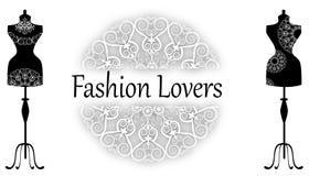 Modeskyltdockauppsättning vektor illustrationer