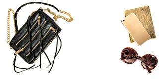 Modespott oben mit Geschäftsdamenzubehör Weibliche Gegenstände Stockfotos