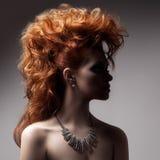 Modestående av den lyxiga kvinnan med smycken. Arkivbild