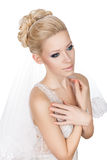 Modest blonde bride. Royalty Free Stock Image