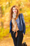 Modest girl in autumnal enviroment. royalty free stock photography