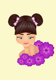 Modest girl with flowers. Illustration of a modest girl with flowers Stock Photo