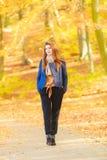 Modest girl in park stock photo