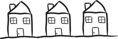 Modest Houses. Simple line drawing of a row of houses Royalty Free Stock Photos
