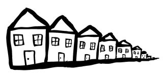 Modest Houses. Simple line drawing of a row of houses Royalty Free Stock Images
