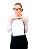 Modest and intelligent business woman. Holding tablet isolated over white background Stock Photography