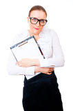 Modest and intelligent business woman. Holding tablet isolated over white background Royalty Free Stock Photos