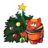 Modest kitten. I present to you a Christmas icon - Modest kitten Stock Photos
