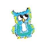 Modest little blue owl. Vector illustration. Drawing by hand. Modest little blue owl. Vector illustration. Drawing by hand Royalty Free Stock Photo