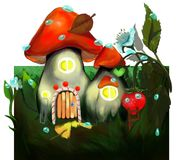 This is a modest little house-mushroom. This is a modest small house-mushroom. llustration created in the program Photoshop Stock Images