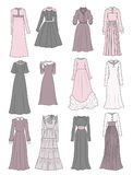 Modest long dresses. Set of modest long dresses isolated on white background Royalty Free Stock Photography