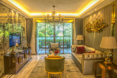 Modest luxury living room Royalty Free Stock Images