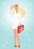 Modest nurse with syringe and first aid kit. Illustration of  seductive and modest nurse with big eyes and full lips holding syringe in one hand and first aid Royalty Free Stock Photography