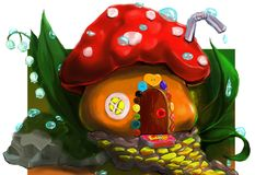 This is a modest little house-mushroom. This is a modest small house-mushroom. llustration created in the program Photoshop Royalty Free Stock Image