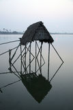 Modest straw hut of Indian fishermen Stock Images