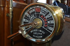 Modesta Victoria. Cockpit instrument of the historical ship Modesta Victoria built in Amsterdam in 1937 to sail the lake Nahuel Huapi, Bariloche, Argentina royalty free stock images